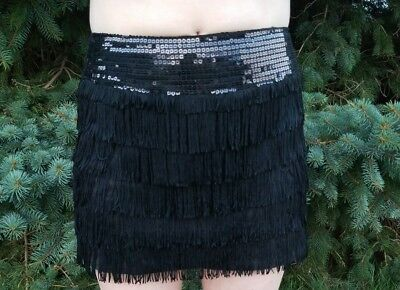 6213886ff2 Akira Chicago Red Label Sequin Tiered Flapper Fringe MiniSkirt Black Size  Small