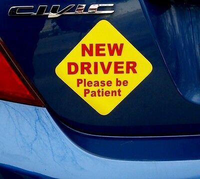"""(1) NEW DRIVER """"Please Be Patient"""" Magnetic Sign 5"""" x 5"""" for Student Driver r/y"""