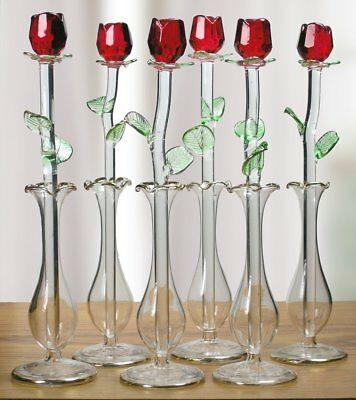 Cut Crystal Red Rose Flowers With Glass Vase - Set of 6 - 8 Inch High