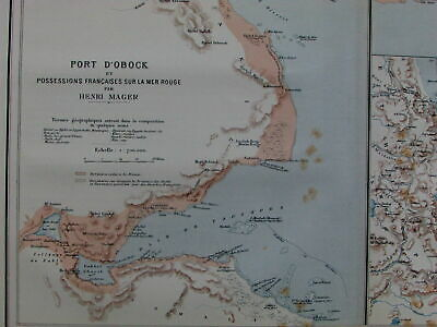 Port Obock Djibouti Red Sea Africa Eritrea French colonies France 1890's old map