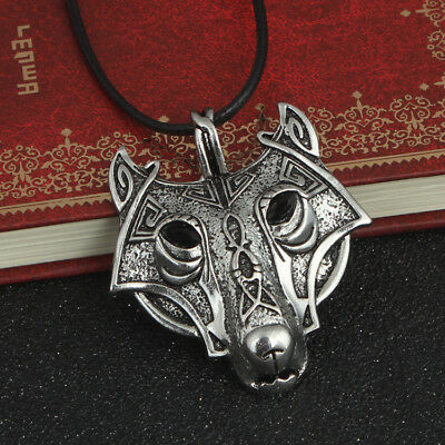 Norse Vikings Pendant Necklace NORDIC CELTIC Wolf Head Animal Women Men Jewelry