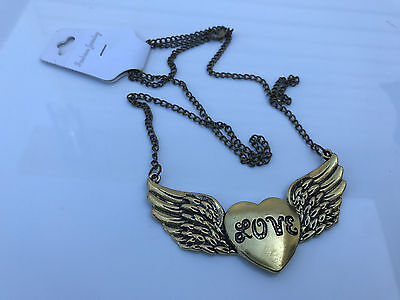 Womens Pendant Vintage Antique Bronze Heart Love Wing Necklace Lover Fine Gift