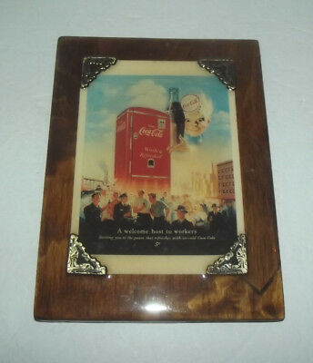 Neat Display Of A Coca Cola Ad Shellacked To A Piece Of Wood