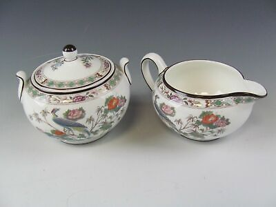 Wedgwood China KUTANI CRANE Creamer and Sugar Bowl w/Lid EXCELLENT