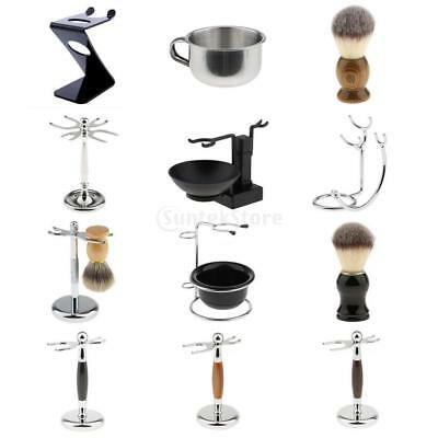 Mens Shaving Brush Safety Razor Holder Rack Stand Shave Soap Cream Mug Bowl Set