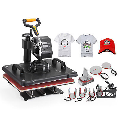 Digital 8 in 1 Transfer Heat Press Machine Sublimation T-Shirt Cap Swing-away