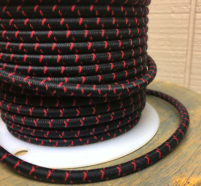 Black/Red Cross-Stitch Tracer Cloth Covered 3-Wire Round Cord, Color Fabric, USA