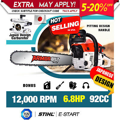 """92cc Chainsaw 24"""" Bar Commercial Petrol Chain Saw Hedge E-Start Tree Pruning"""