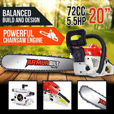 """NEW 72cc Petrol Commercial Chainsaw 20"""" Bar E-Start Top Handle Chain saw Pruning"""