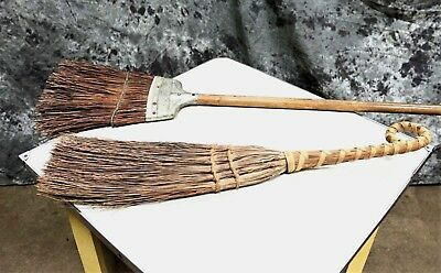 """Beautiful Pair of Antique Primitive Rustic 54"""" and 30"""" Brooms / Country"""