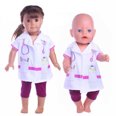 New Doctor Wear Set Doll Clothes Fits 43cm Baby Born Zapf or American Girl Doll