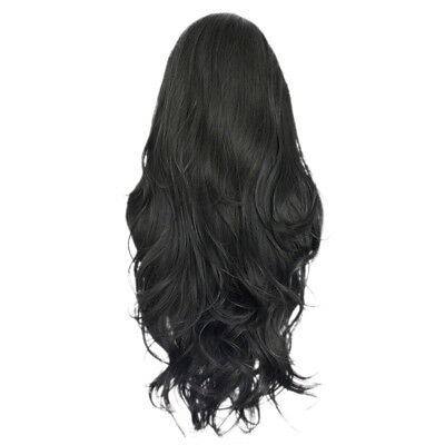 Women Human Hair Wavy Curly Full Wigs Hairpieces Heat Safe Daily Party 65cm