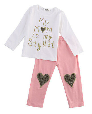US Stock 2pcs Toddler Kids Baby Boys Girls Floral Outfits Tops+Pants Set Outfit
