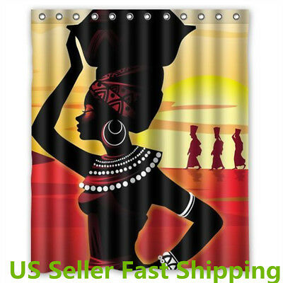 "60x70"" African Woman Waterproof Polyester Shower Curtain Bathroom Decor Hook Set"