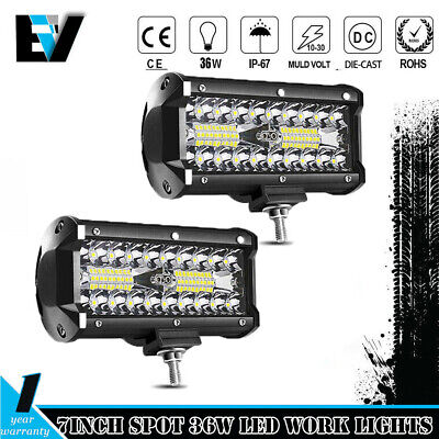 2X 6INCH 36w LED WORK LIGHT BAR FLOOD BEAM OFFROAD DRIVING LAMP FOG ATV SUV 4WD