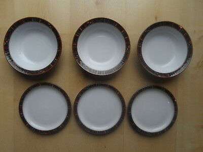 Denby Shiraz Pattern Cereal Bowls & Tea Plates X6