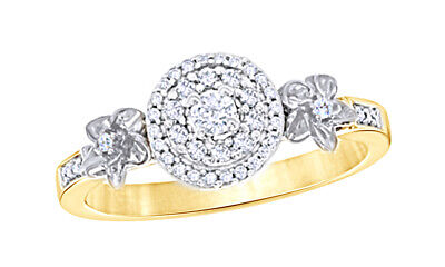 1/4 Ct Round Cut Natural Diamond Frame Flower Engagement Ring In 10K Yellow Gold