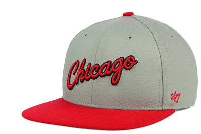 new style 45c79 321f7 ... hot chicago bulls 47 brand nba sure shot gray red strapback cap hat  dfc27 9a1fb
