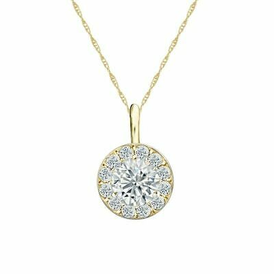 14K Yellow Gold Halo Round-Cut Diamond Solitaire Pendant 3/4ct G-H, VS2 w/Chain