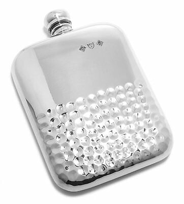 Pewter Flask with Hammered Design and Silver Finish - 5.5 Ounce - Handmade in