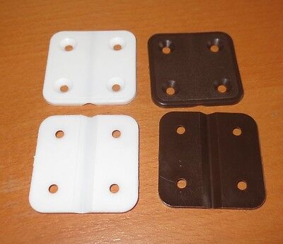 10 x PLASTIC HINGES, 4cm SQUARE IN WHITE OR BROWN FOR CAGES OR NEST BOXES