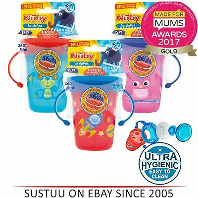 Nuby 360 Mini Handle Baby Training Spill Proof Seal with Watertight Coverlid Cup