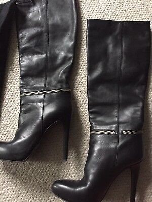 All Saints Black Leather Full Length Boots with ankle zip