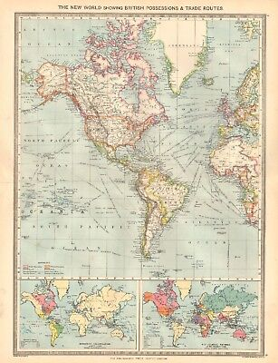 1907  Large Antique Map - New World Showing British Possessions And Trade Routes