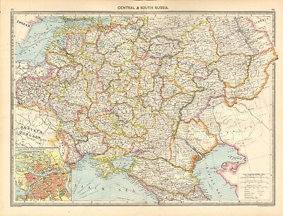 1907  Large Antique Map - Central & South Russia