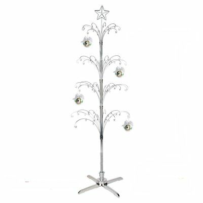 metal scroll 74 christmas ornament display tree rotating stand silver or gold - Metal Christmas Tree Ornament Display