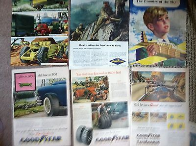 """67 GOODYEAR TIRES 10x14"""" size LARGE COLOR MAGAZINE ADS 1940s 50s MANY 2 PAGE"""