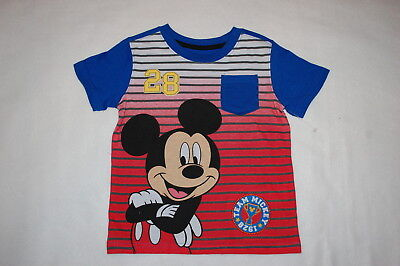 Toddler Boys S/S MICKEY MOUSE TEE SHIRT w/ POCKET Blue Red Gray Stripe SIZE 3T