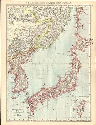 1907  Large Antique Map - The Japanese Empire Including Korea & Sakhalin