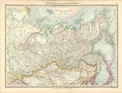 1907  Large Antique Map - Asiatic Russia & The Siberian Railway