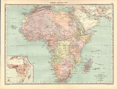1907  Large Antique Map - Africa : General Map