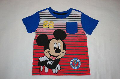 Toddler Boys S/S MICKEY MOUSE TEE SHIRT w/ POCKET Blue Red Gray Stripe SIZE 4T