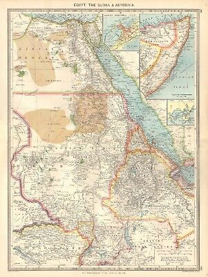 1907  Large Antique Map - Egypt, The Sudan & Abyssinia