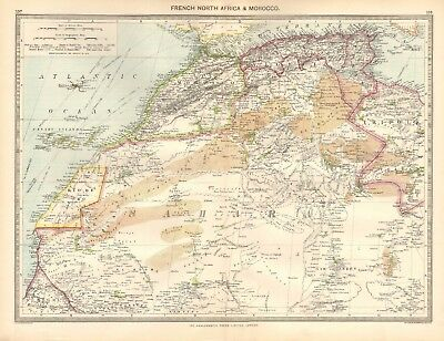 1907  Large Antique Map - French North Africa & Morocco