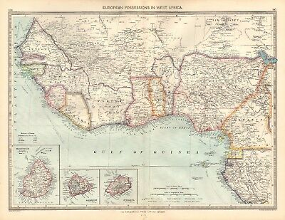 1907  Large Antique Map - European Possessions In West Africa, Ascension, St Hel