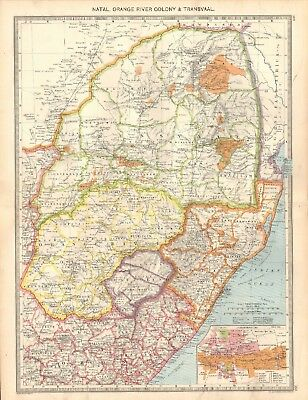 1907  Large Antique Map - Natal, Orange River Colony & Transvaal