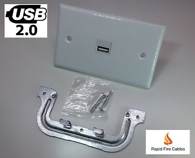 1 Gang Port Wall Plate Wallplate 1 x USB v2.0 Couplers with Plaster Bracket
