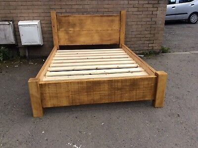 Chunky Rustic Plank Beds / Farmhouse Style / Wax Finished / Made To Order