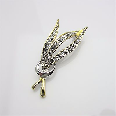 Vintage Jewellery Brooch Pin Clear Rhinestone 18K RPG Rolled Gold Plated 1970s