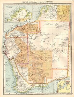 1907  Large Antique Map - Australia - Western Australia, Showing The Goldfields