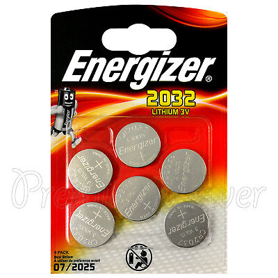 6 x Energizer Lithium CR2032 batteries 3V Coin cell DL2032 BR2032 Pack of 6