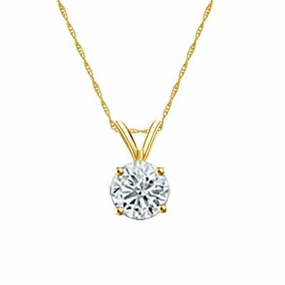 14K Yellow Gold 4-Prong Round-Cut Diamond Solitaire Pendant 3/4ct H-I I2 w/Chain