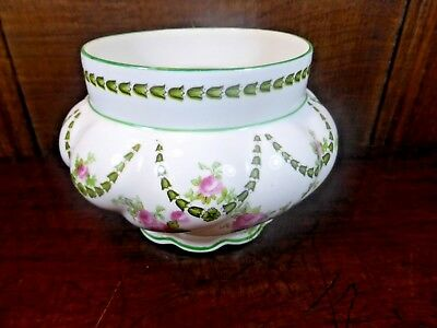 ANTIQUE George Jones Crescent China FLORAL BOWL - roses & swags