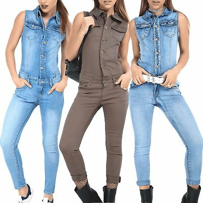 Womens Ladies Collared Denim All In One Dungaree Sleeveless Playsuit Jumpsuit