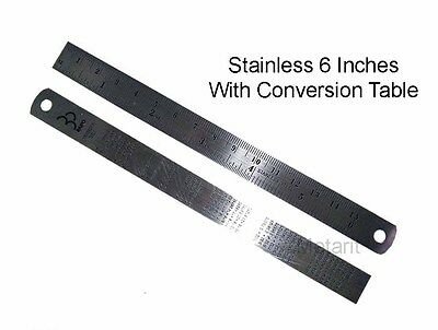 Stainless Pocket Ruler Metal With Conversion Table Inch Mm At The Back 6