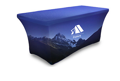 8ft Stretch Table Cover, Custom Print, Full Color, Stretch Fit for Trade Show